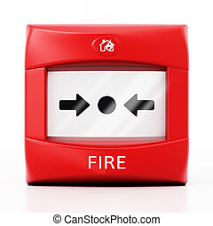Fire button isolated on white background. 3D illustration