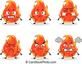 Fire cartoon character with various angry expressions