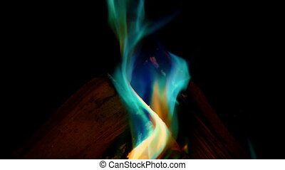 Fire Changes Color To Multicolor Flames - Fire burns and...