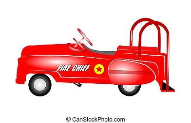 kids pedal car - fire chief fifties kids pedal car