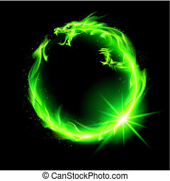 Fire Chinese dragon in green making circle on black background.