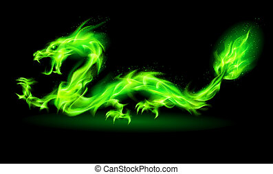 Fire Chinese dragon. - Fire Chinese dragon in green on black...