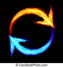 Fire circular arrows - Orange and blue fire circular arrows...