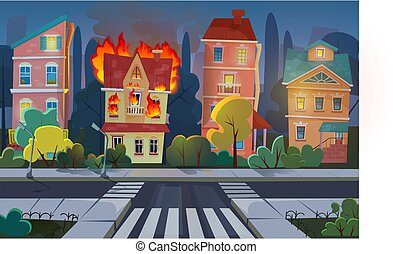 Fire city concept flat cartoon vector illustration. Town living house panorama with burning building