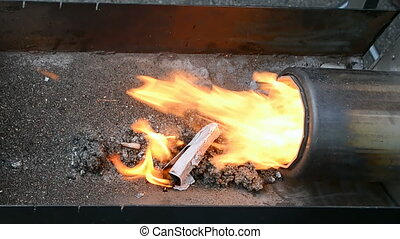 fire closeup, stove with gas methane fire heater closeup, ...