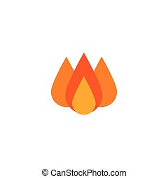 Fire colored flat vector icon