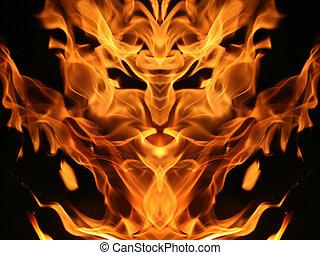 Fire creature - Imaginary fire creature face on black ...