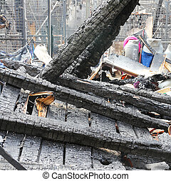 Fire Damage - Burned Wooden Construction in Factory After...