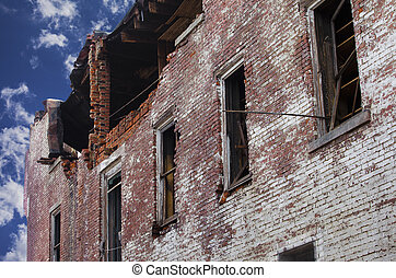 Fire Damaged Brick Building - A brick building that has been...