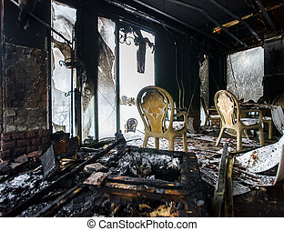 Fire damaged interior details