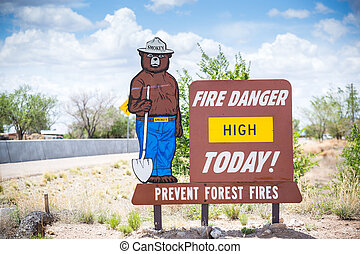 Fire Danger High Today. Prevent forest fires. Sign.