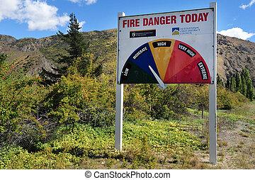 Fire Danger Warning Sign - A fire meter danger warning sign...