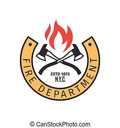 Fire department badge with axes - Fire department badge with...