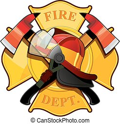 fire department badge with crossed axes, fire helmet against...