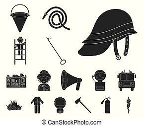 Fire Department black icons in set collection for design. Firefighters and equipment vector symbol stock web illustration.