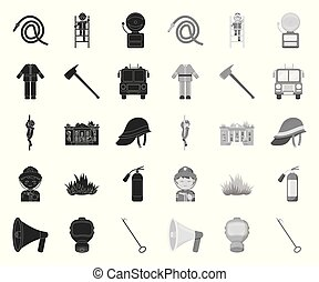 Fire Department black. mono icons in set collection for design. Firefighters and equipment vector symbol stock web illustration.