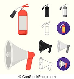 Fire Department cartoon, black, flat, monochrome, outline icons in set collection for design. Firefighters and equipment vector symbol stock web illustration.
