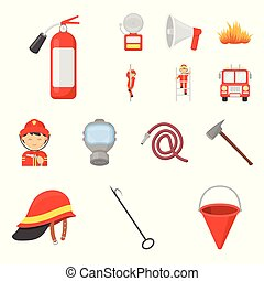 Fire Department cartoon icons in set collection for design. Firefighters and equipment vector symbol stock web illustration.