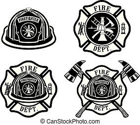 Fire Department Cross and Helmet Designs is an illustration of four fireman or firefighter Maltese cross design which includes fireman's helmet with badges and firefighter's crossed axes. Great for t-shirts, flyers, and websites.