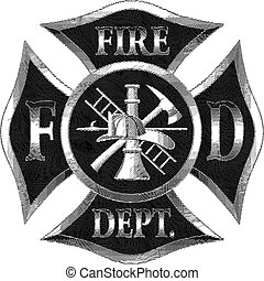 Fire Department Cross Silver Engaving - Fire Department...