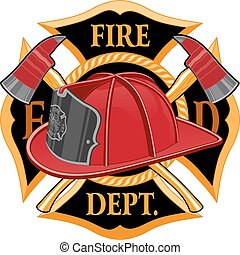 Fire Department Cross Symbol is an illustration of a fireman...