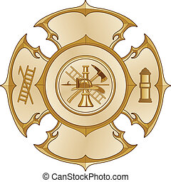 Illustration of a vintage fire department maltese cross in a gold color with firefighter logo inside.