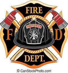 Fire Department Cross Vintage with Black Helmet and Axes