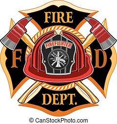 Fire Department Cross Vintage with Red Helmet and Axes is an illustration of a vintage fireman or firefighter Maltese cross emblem with a red firefighter helmet with badge and crossed axes. Great for t-shirts, flyers, and websites.