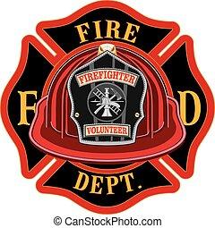 Fire Department Cross Volunteer Red Helmet