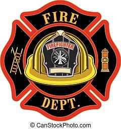 Fire Department Cross Yellow Helmet