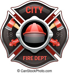 Fire Department Emblem Realistic Image Illustration - City...