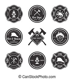 Fire department emblems black - Fire department professional...