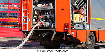 fire truck with hose