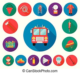 Fire Department flat icons in set collection for design. Firefighters and equipment vector symbol stock web illustration.