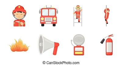 Fire Department icons in set collection for design. Firefighters and equipment vector symbol stock web illustration.