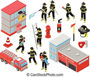 Fire Department Isometric Icons Set - Fire department ...