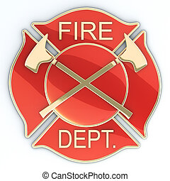 Fire department Maltese cross badge or symbol with axes, red...