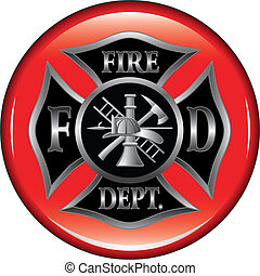 Fire Department or Firefighter%u2019s Maltese Cross Symbol on a button illustration.