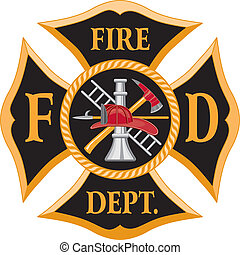 Fire Department Maltese Cross - Six color maltese cross art...