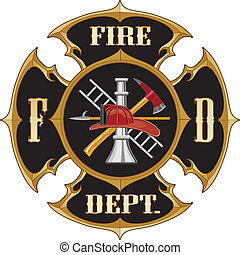 Fire Department Maltese Cross Vintage is an illustration of...