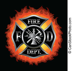 Fire Department or Firefighter%u2019s Maltese Cross Symbol in silver with flaming background illustration.