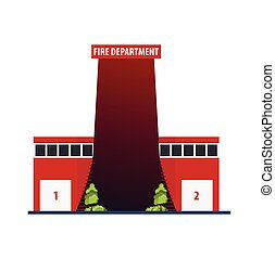 Fire department Modern building in flat style isolated on white background.