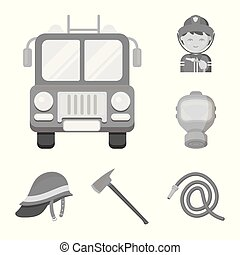 Fire Department monochrome icons in set collection for design. Firefighters and equipment vector symbol stock web illustration.