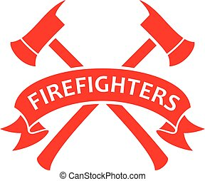 Fire Department or Firefighters Symbol - Crossed Axes vector illustration