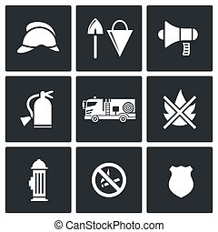 Fire Department Service icons set - Service icon collection...