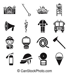 Fire department set icons in black style. Big collection fire department vector symbol stock illustration