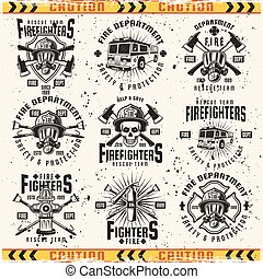 Fire department set of vector emblems, labels, badges and logos in vintage style isolated on background with grunge textures on separate layer