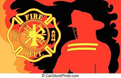 Fire Department With Fireman is an illustration of a ...