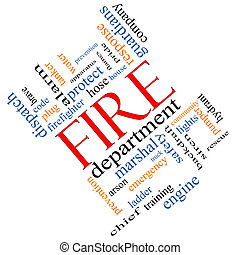 Fire Department Word Cloud Concept Angled