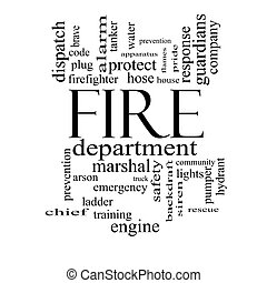 Fire Department Word Cloud Concept in black and white